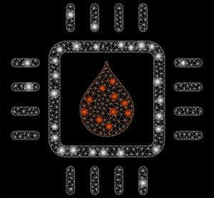 Blood drop on microchip