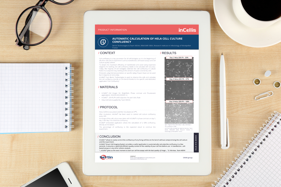 Application note: Automatic calculation of HeLa cell culture confluency