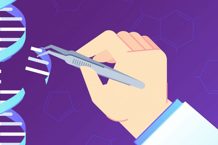 gene editing - cartoon hand removing a section of a DNA strand with tweezers