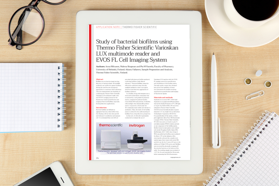 Application note: Study of bacterial biofilms using Thermo Fisher Scientific Varioskan LUX multimode reader and EVOS FL Cell Imaging System