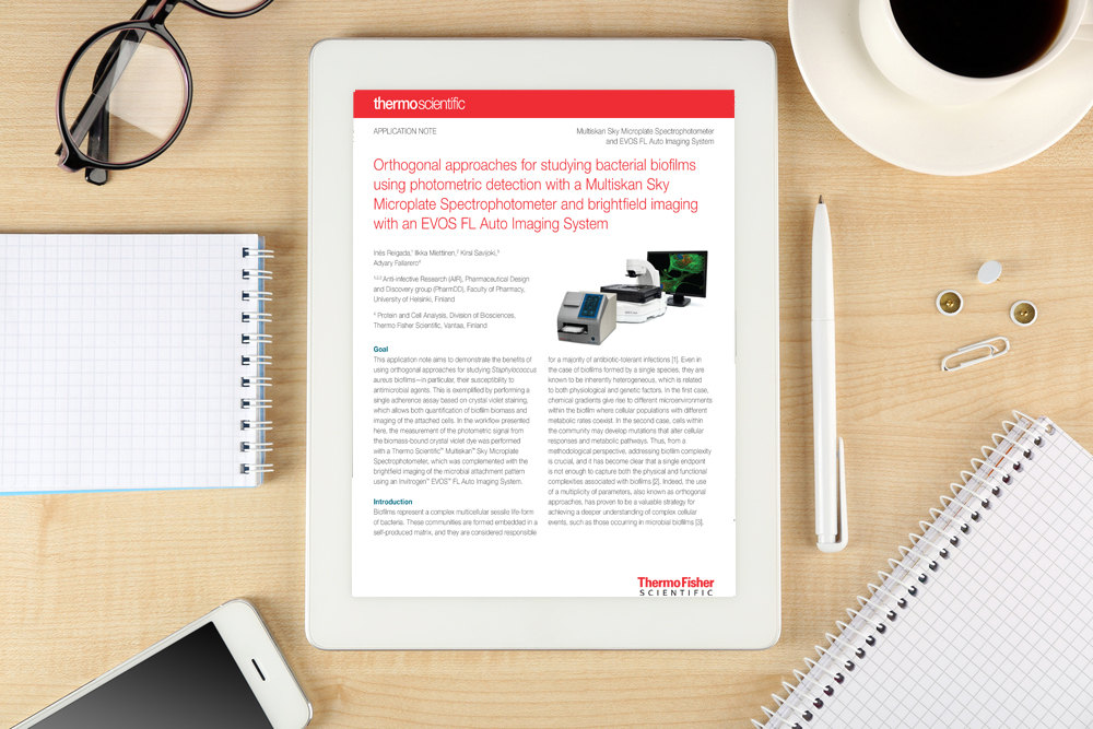 Application note: Orthogonal approaches for studying bacterial biofi lms using photometric detection with a Multiskan Sky Microplate Spectrophotometer and brightfi eld imaging with an EVOS FL Auto Imaging System