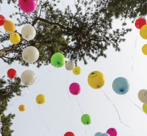 Balloons marking rare disease sufferers