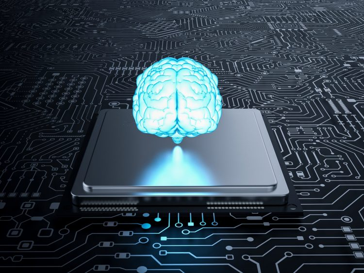 blue glowing brain hovering above a computer chip