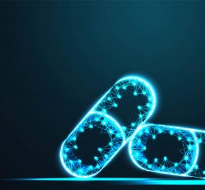glowing blue outlines of medicine capsules