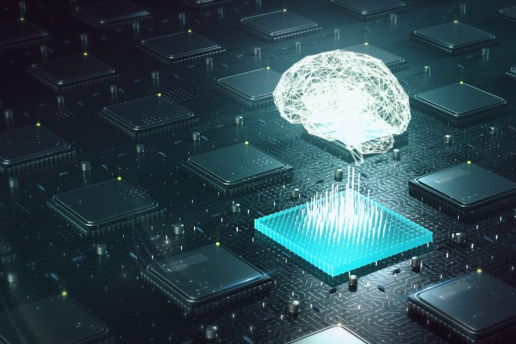 luminous brain hovering above computer motherboard