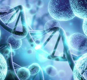 Abstract cells with DNA in background
